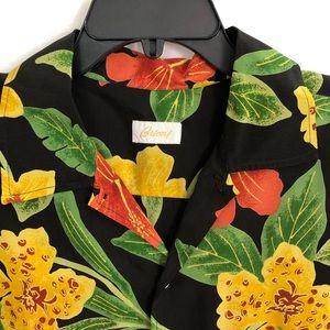 BRIONI Black Floral Rayon Short Sleeve Shirt Large